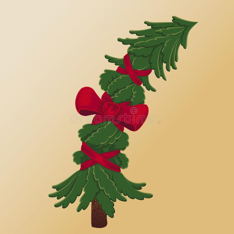 Christmas tree wrapped red ribbon and bow royalty free illustration