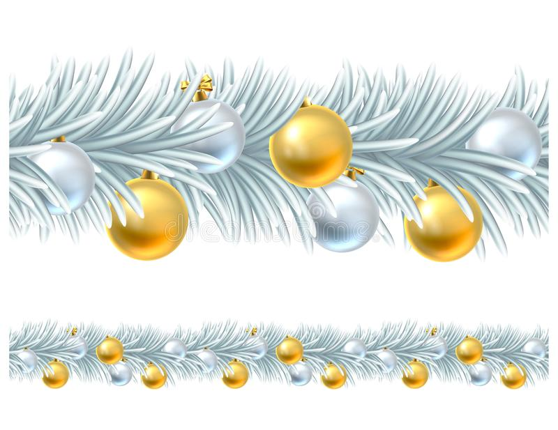 Christmas Tree Wreath Garland Design royalty free illustration