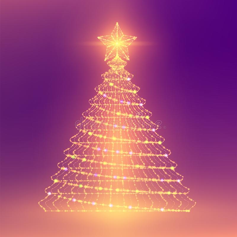 Christmas Tree with Star wireframe polygon bokeh light frame structure and lens flare, Technology connection concept design illust vector illustration