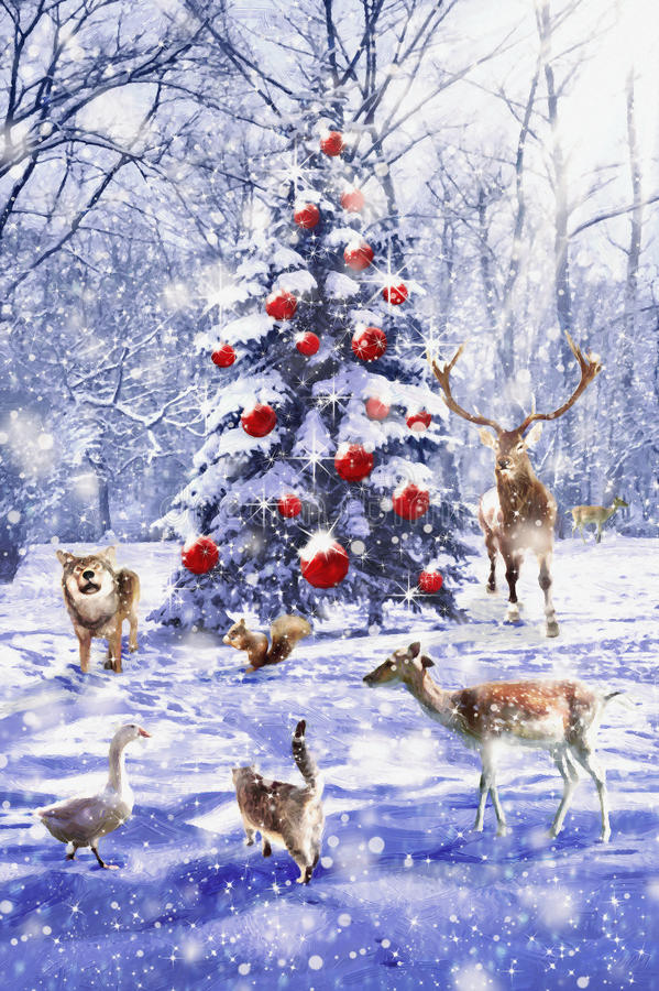 Christmas tree. Xmas scene with animals. Illustration in oil paintong style. royalty free stock photo