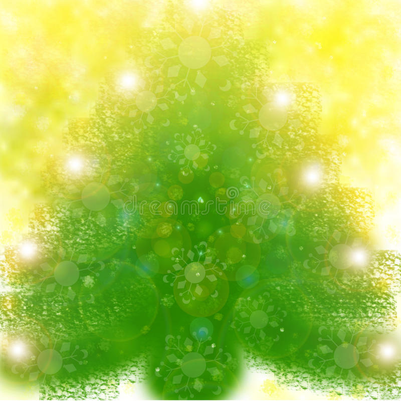 Christmas tree on yellow background stock photography