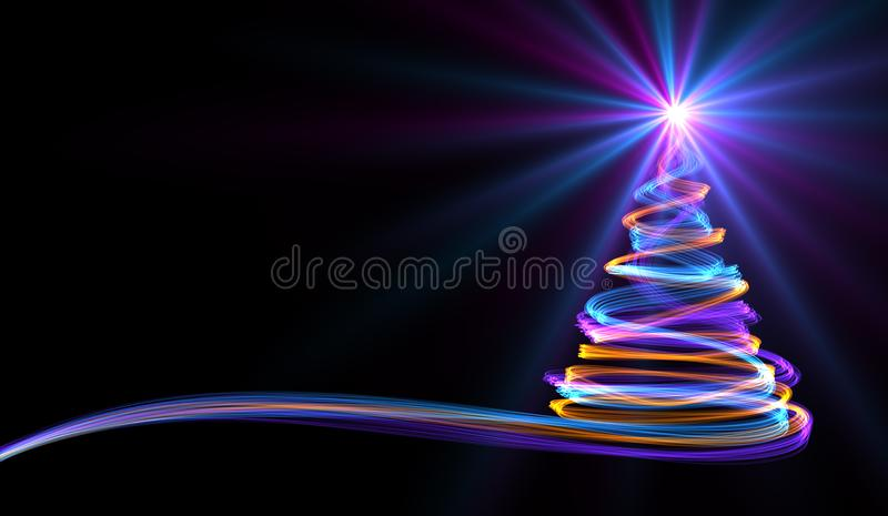 Christmas Tree From Yellow, Blue And Purple Neon Streaks stock illustration