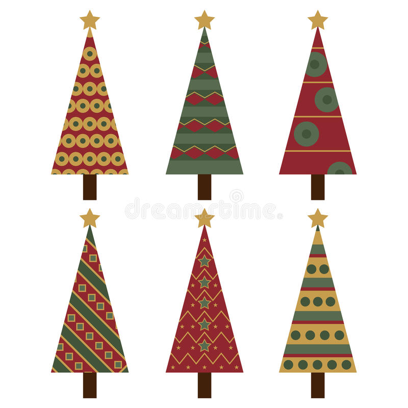 Christmas trees. Set of six Christmas tree isolated on white background.EPS file available