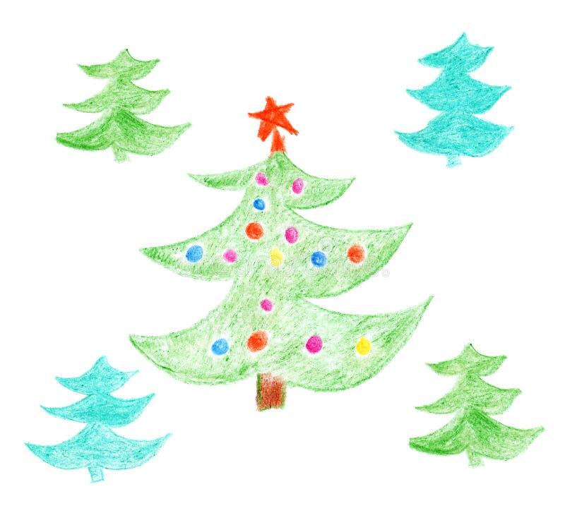 Christmas trees royalty free illustration