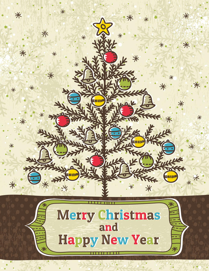 Download Christmas Trees On Beige Background With Label Stock Vector - Image: 27968847