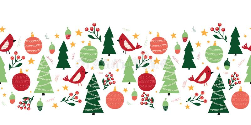 Christmas trees, birds, ornaments, mistletoes seamless vector border. Scandinavian style green and red Christmas holiday vector illustration