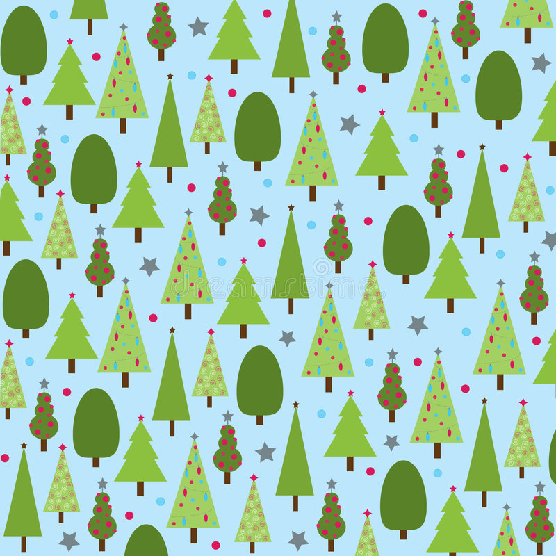 Download Christmas Trees On Blue Background Stock Vector - Illustration: 9150997