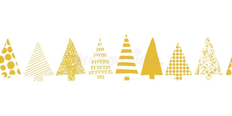 Christmas trees border. Christmas trees in a row vector seamless pattern. Geometric Christmas tree silhouettes gold on a white. Christmas trees border. Christmas stock illustration