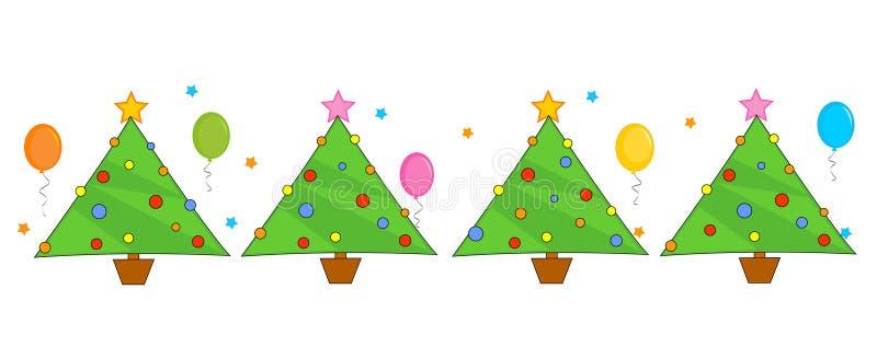 Christmas trees border / line vector illustration