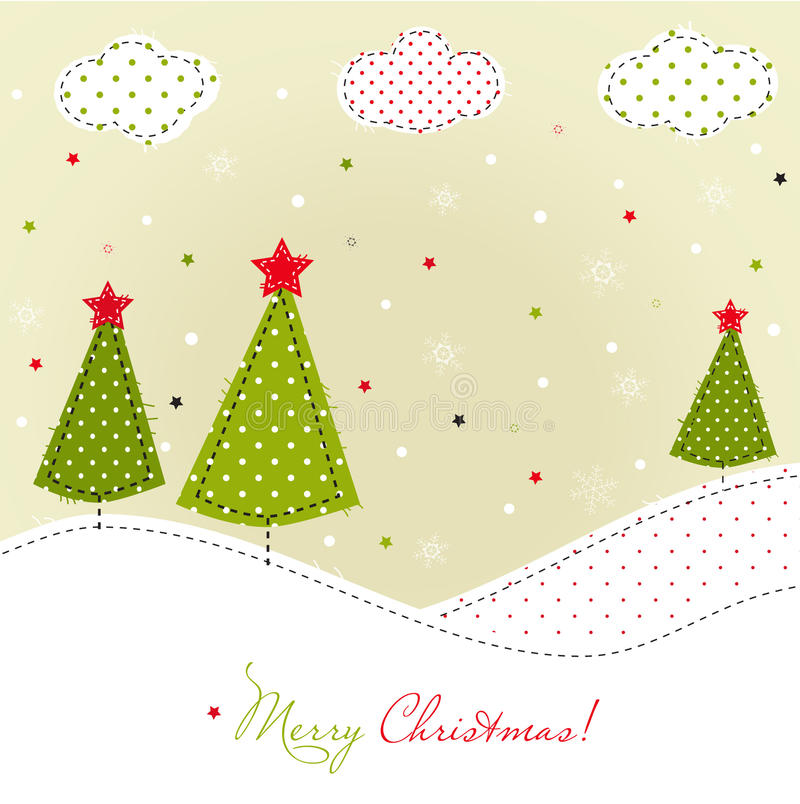 Christmas trees card royalty free stock photography