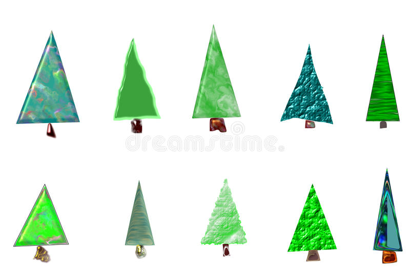 Christmas trees card. Different Christmas trees card hand drawn illustration vector illustration