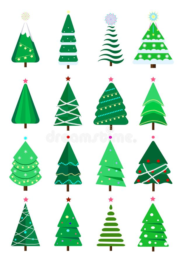 Christmas trees collection of flat vector. New Years and xmas tree icon with garlands, light bulb, star, snowflakes vector illustration