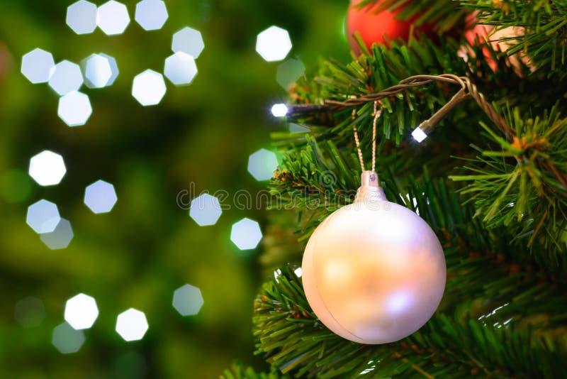 Christmas trees. Colorful decorations on christmas trees at christmas time stock photo