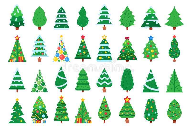 Christmas trees. Decorated New Year tree, green spruce and gift box under xmas tree flat vector illustration set stock illustration