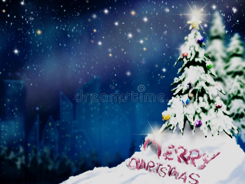 Christmas trees and decoration light on snow with blurred of town in night sky stock photo