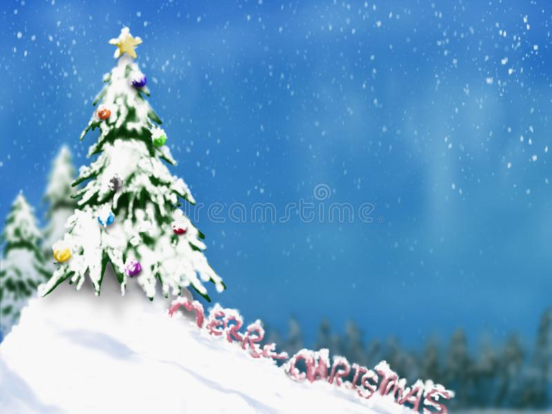Christmas trees and decoration light on snow with blurred of tree in blue sky royalty free stock images