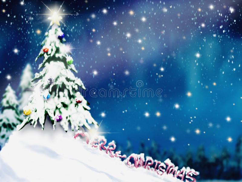Christmas trees and decoration light on snow with blurred of tree in night sky stock photography