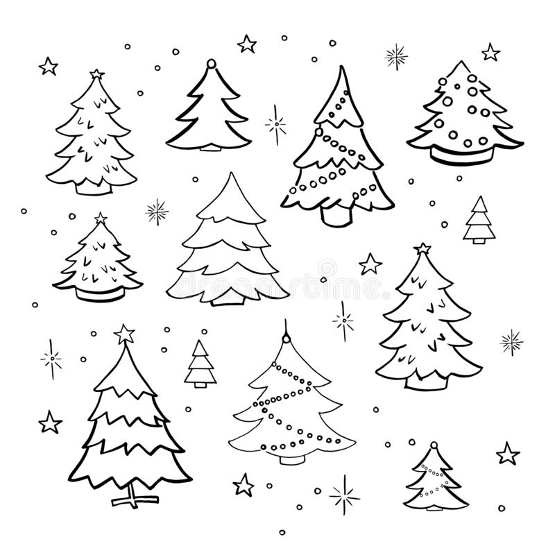 Christmas trees doodle set. Collection of hand drawn decorated christmas trees. Vector illustration. Isolated on white. royalty free illustration