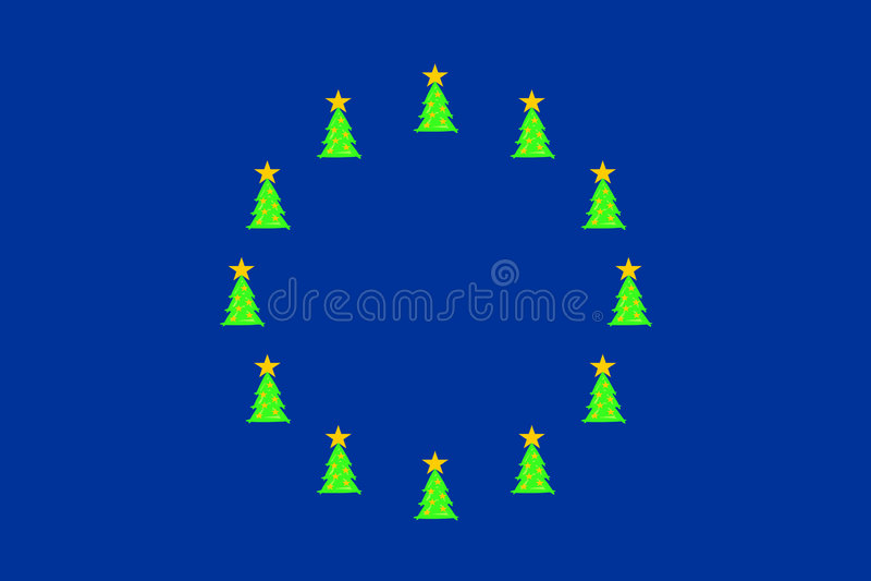 Download Christmas trees on EU-flag stock vector. Image of union - 7311248