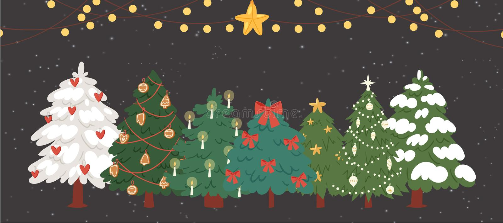 Christmas trees, firs with garlands and lights vector illustration. Winter holiday background. Christmas trees with snow stock illustration