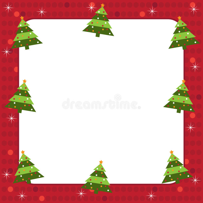 Christmas trees frame stock illustration