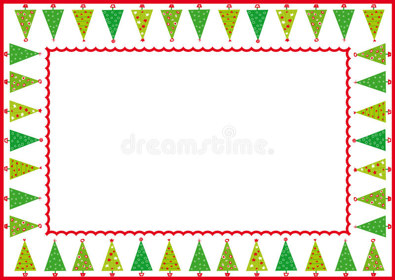 christmas trees frame royalty free illustration