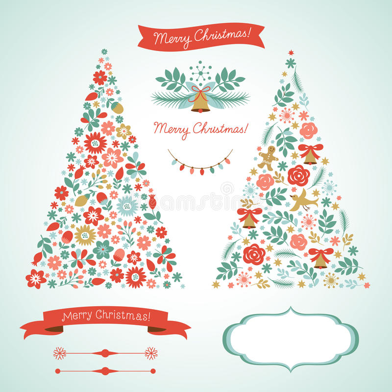 Christmas Trees And Graphic Elements Stock Photos