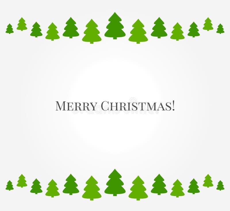 Christmas trees green border vector illustration