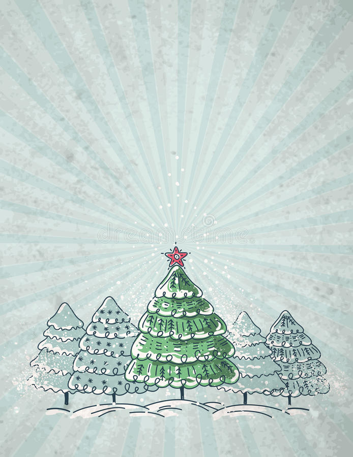 Download Christmas Trees  On Grey Background, Vector Stock Vector - Image: 26729599