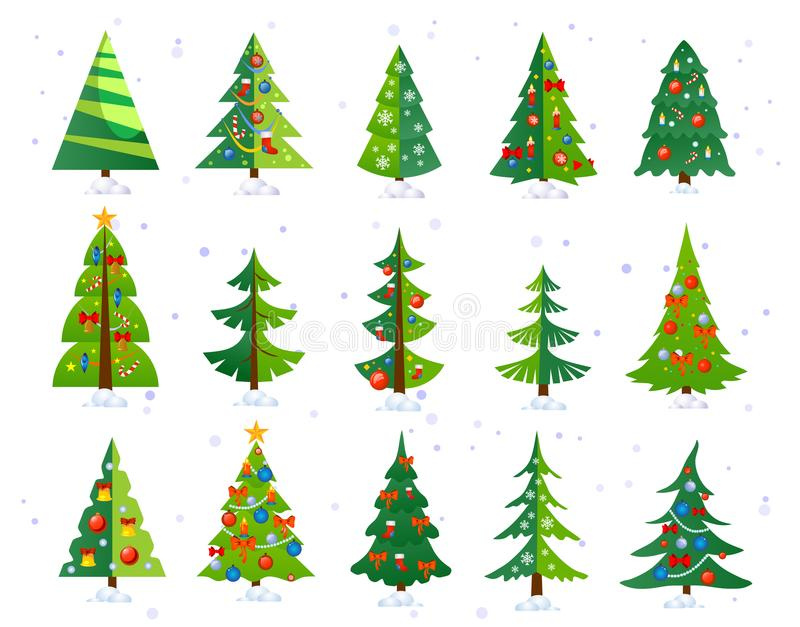 Christmas trees icon set isolated on white background. Cute Christmas trees with toys and snow. New year decorations. Vector stock illustration