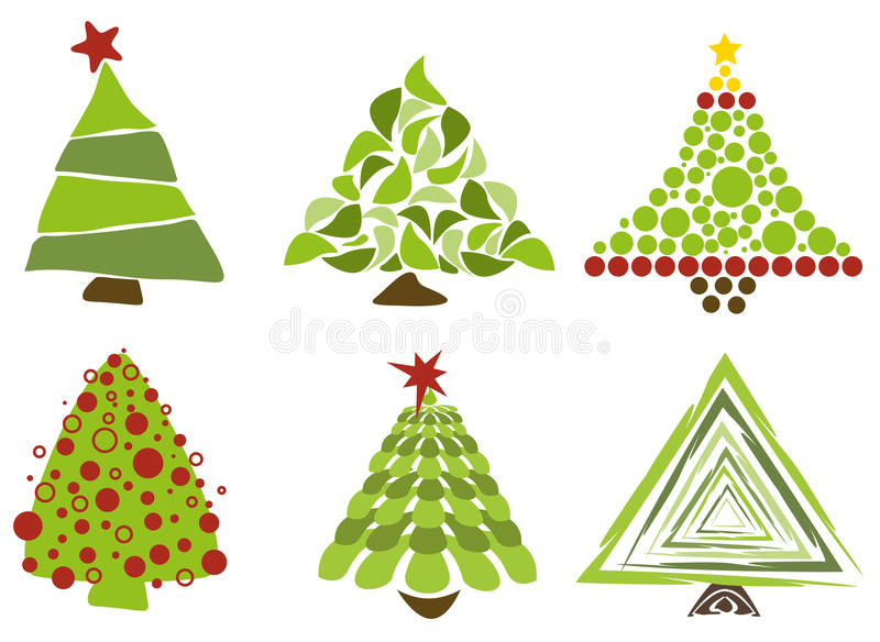 Christmas trees isolated vector illustration