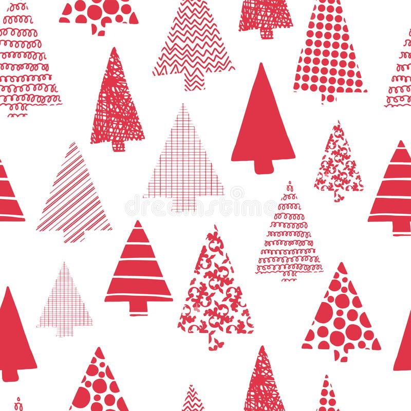 Christmas trees modern vector seamless pattern. Red Christmas tree silhouettes on a white background. Modern Christmas design. stock illustration