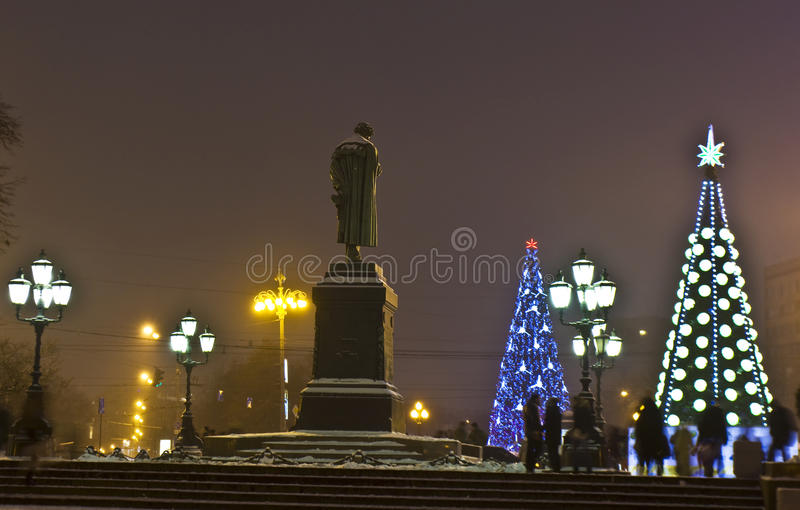 Download Christmas trees, Moscow. editorial stock photo. Image of pushkin - 27246983