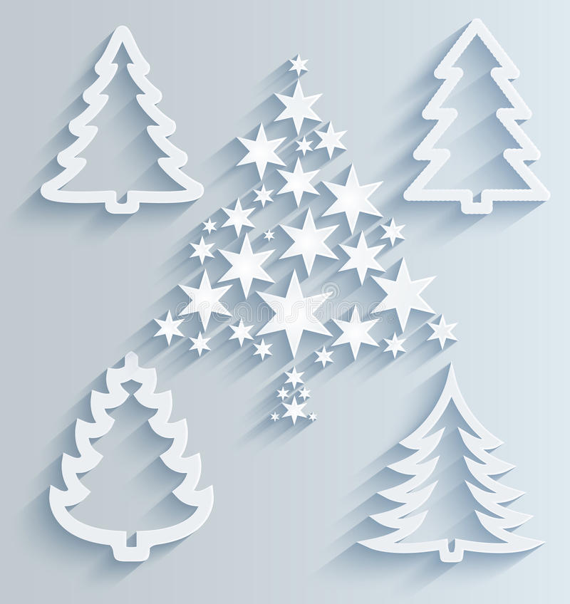 Decorate Christmas Tree On Paper: Christmas Trees. Paper Holiday Decorations Stock