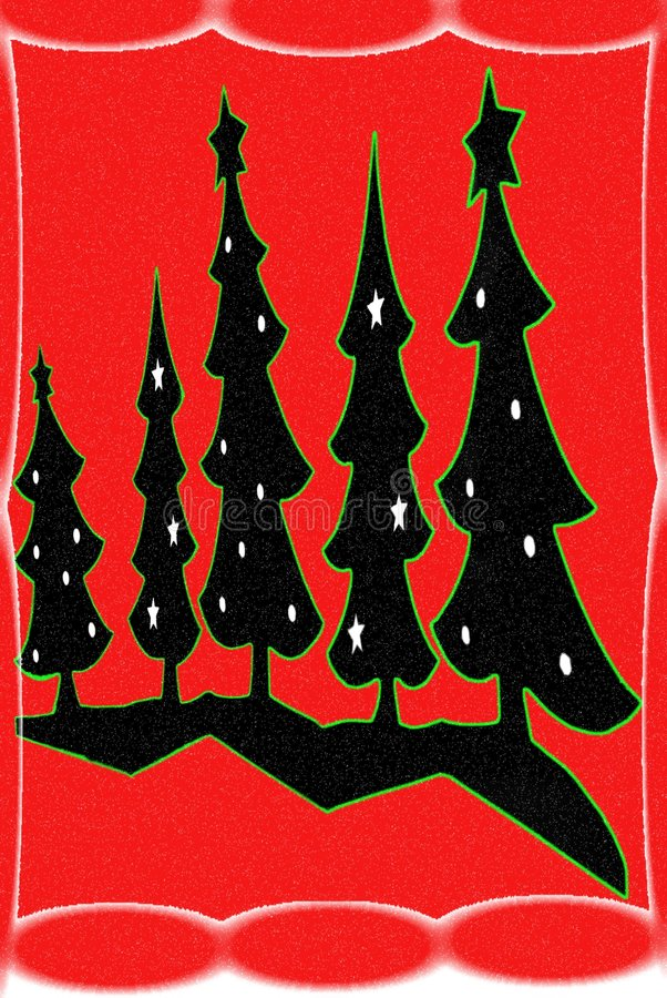 Christmas Trees/Red Background stock photography