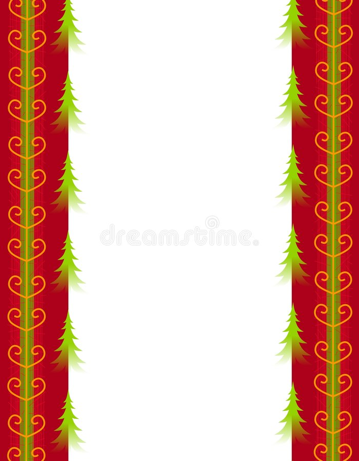 Download Christmas Trees And Red Gold Ribbon Border Stock Illustration - Illustration: 3636628