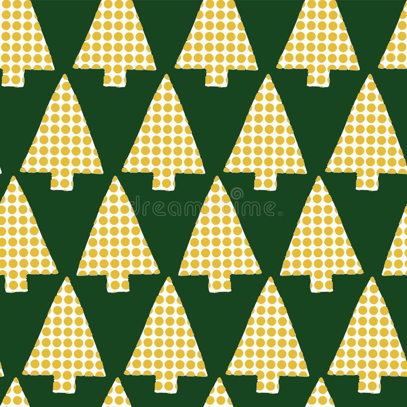 Christmas trees in a row vector seamless pattern. Geometric Christmas tree silhouettes gold on a green background. Christmas trees royalty free illustration