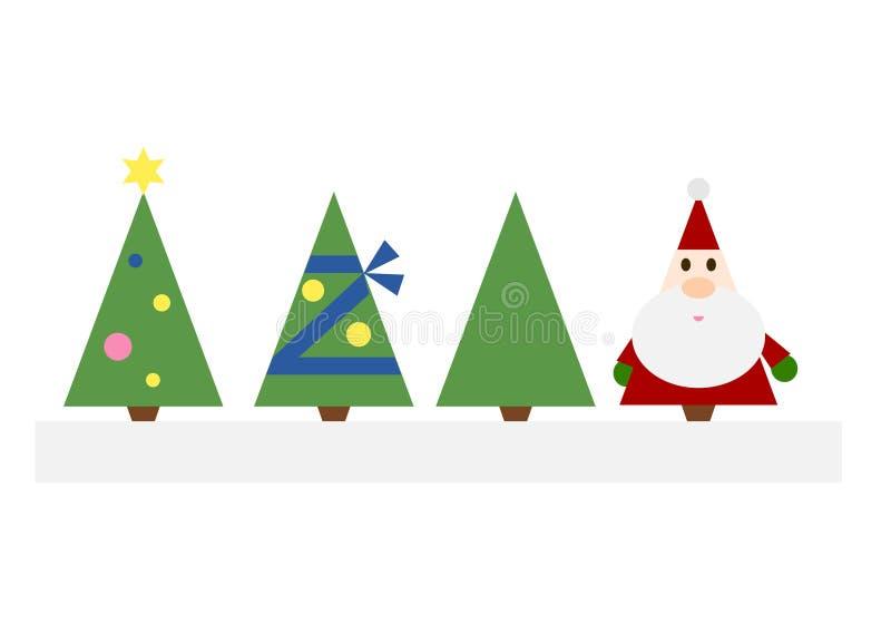 Christmas Trees and Santa Claus vector illustration