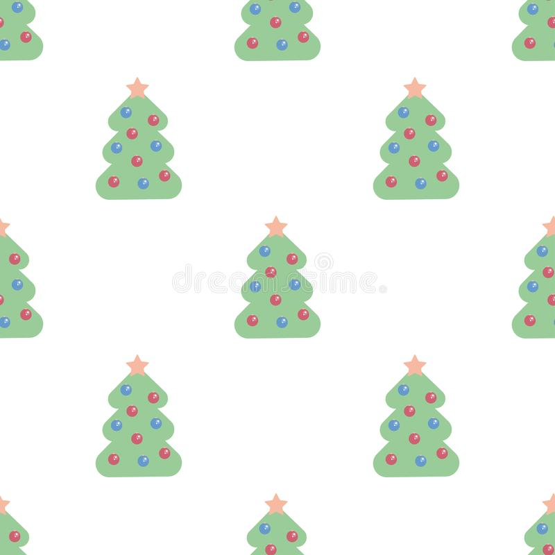 Christmas trees seamless pattern. Can be used as new year background for wrapping paper, cards, invitations royalty free illustration