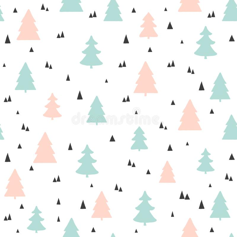Christmas trees seamless pattern. Vector childish scandinavian background. For fabric, wallpaper design vector illustration