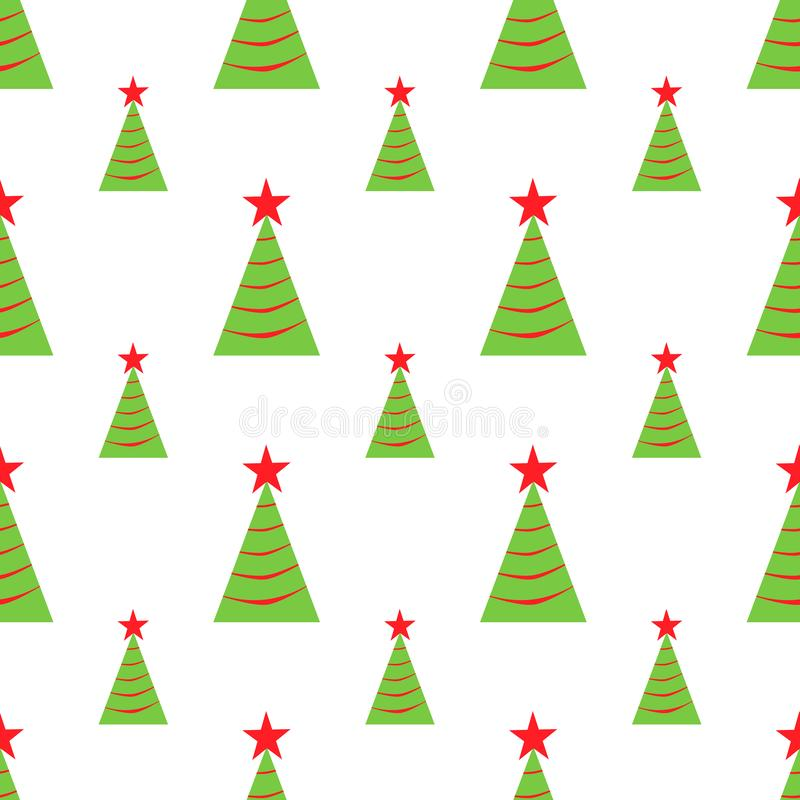 Christmas trees seamless pattern. Vector illustration. Simple green and red icons on the white background. Holidays design, Christ royalty free illustration