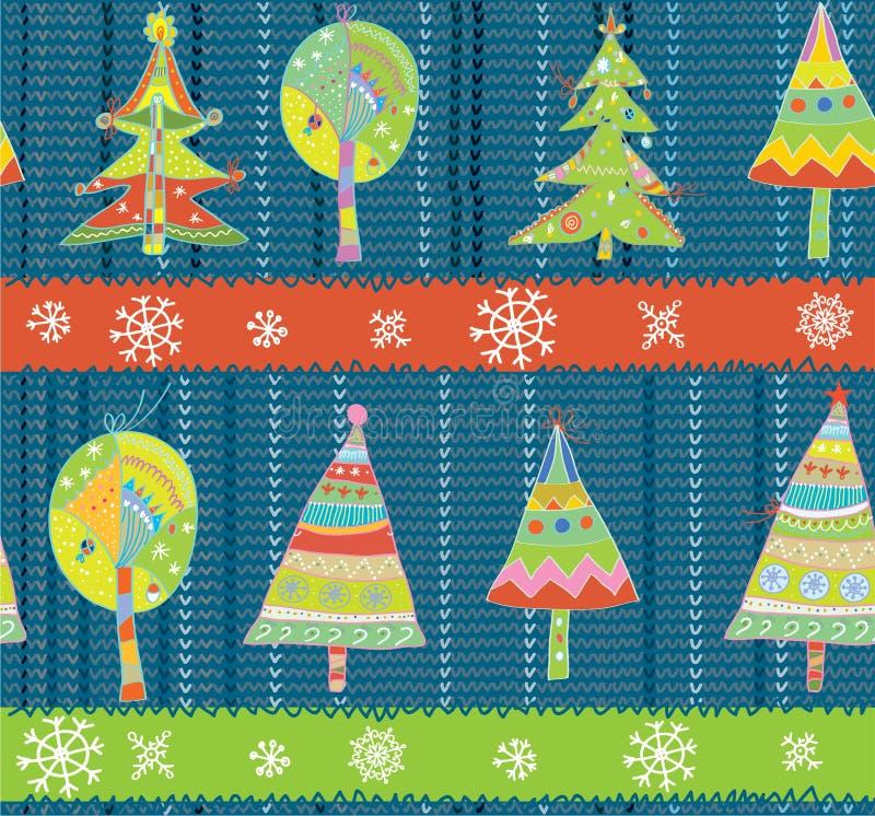 Christmas trees seamless winter knitting pattern vector illustration