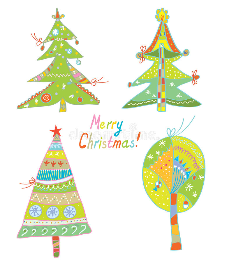Christmas trees set funny design vector illustration