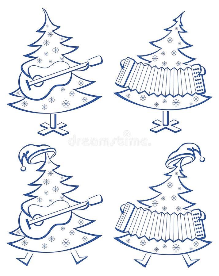 Christmas trees, set, musicians royalty free illustration