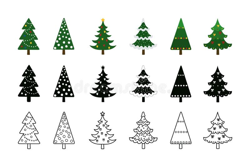 Christmas trees. Set of Christmas trees in style colored, silhouette and line art stock photo