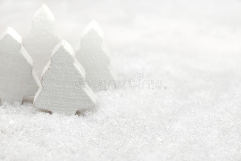 Christmas trees in the snow royalty free stock photos