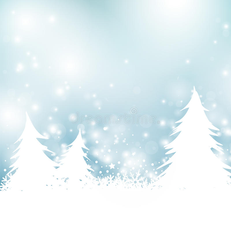 Christmas trees and snow vector illustration