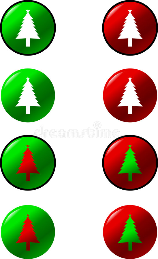 Christmas Trees Vector Buttons Stock Photo