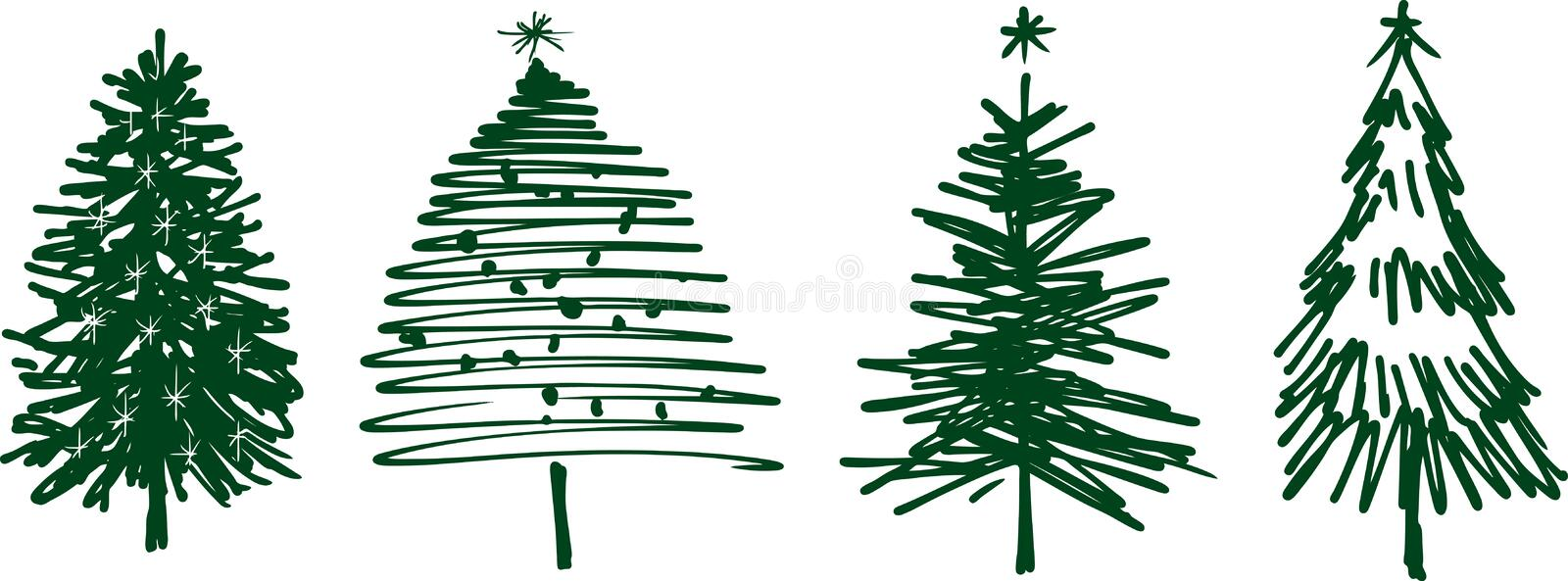 Christmas trees royalty free illustration