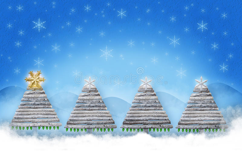 Christmas trees. A wooden Christmas tree with snowflakes as tree toppers on a snowy backdrop with snowflakes in the sky and snow on the ground at the base of the stock image